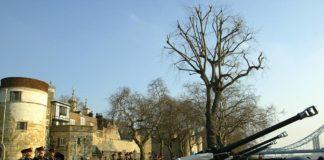 Le traditionnel Gun Salute 103 coups de canons depuis la Tour de Londres