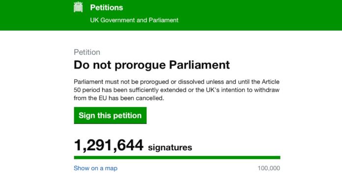 petition ligne suspension parlement britannique brexit